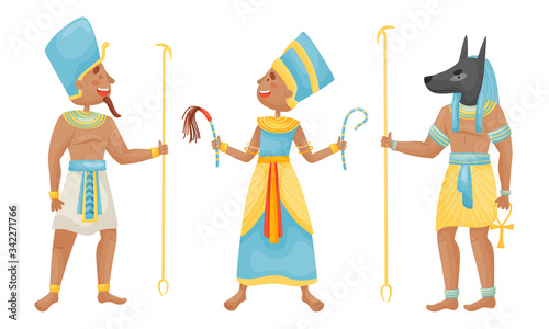 Fotografie, Obraz Egyptian Pharaoh and Deities Wearing Antique Clothing Vector Set