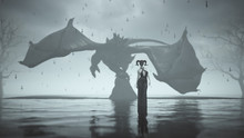 Dragon Rider In A Pant Suit With Horned Skull Mask Walking Away From A Large Winged Black Dragon Black Sand Surrounded By Water Dead Trees Floating Upside Down Crosses 3d Illustration 3d Render