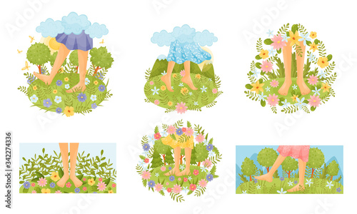 Valokuvatapetti Bare Feet Walking Through the Field or Meadow Touching Soft Green Grass Vector S