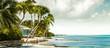 Leinwanddruck Bild - Panorama with beachfront bungalow under palm trees