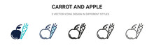 Carrot And Apple Icon In Fille...