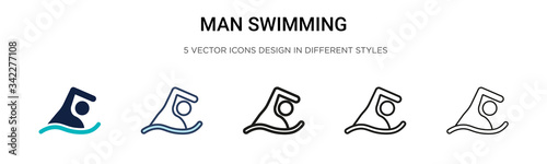 Fotografía Man swimming icon in filled, thin line, outline and stroke style