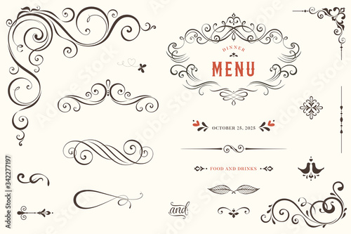 Obraz Vector set of ornate calligraphic vintage elements, dividers and page decorations. - fototapety do salonu