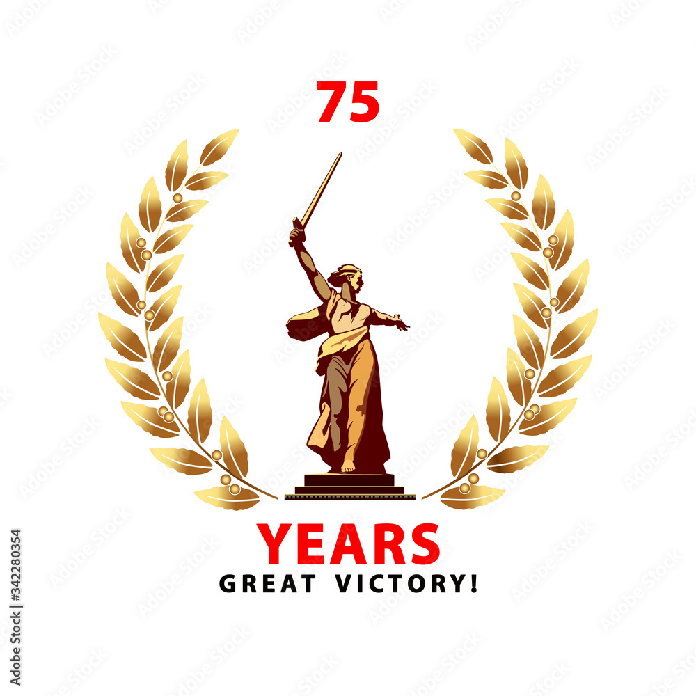 Fototapeta May 9 banner design for Victory Day. Motherland sculpture calls for a golden laurel wreath. 75 years since the Great Victory. The symbol of Volgograd. White background vector. World War II, Stalingrad