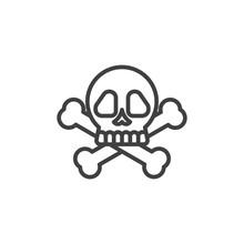 Skull And Crossbones Line Icon...
