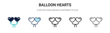 Balloon Hearts Icon In Filled,...