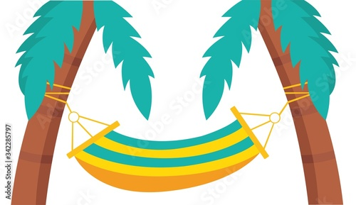Fototapeta Hammock and palm trees. Vector illustration. Hammock for rest and relaxation. Tropical vacation. obraz