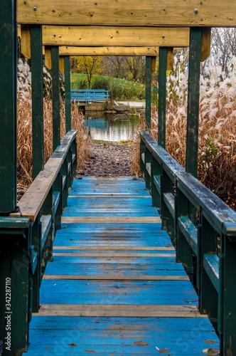 Photo Old Blue Footbridge Leading Towards Pond