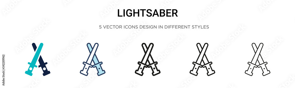 Fotografie, Obraz Lightsaber icon in filled, thin line, outline and stroke style