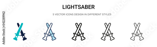 Lightsaber icon in filled, thin line, outline and stroke style Wallpaper Mural