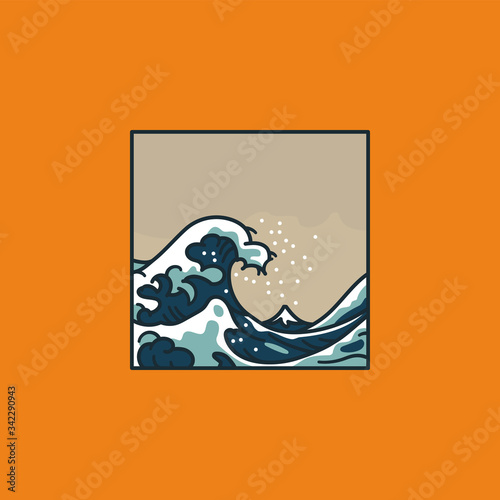 Great Wave Off Kanagawa after Hokusai cartoon vector illustration for Mother Oce Canvas Print