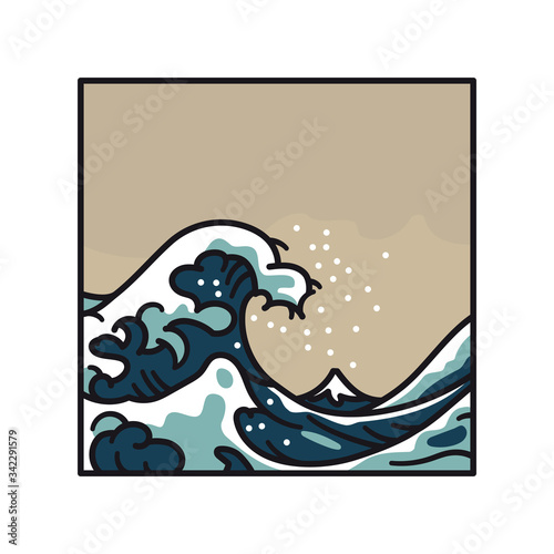 Slika na platnu Great Wave Off Kanagawa after Hokusai isolated cartoon vector illustration for M