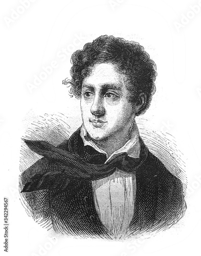 Fotografija Portrait of George Gordon Byron English poet - romantic in the old book The Essays in Newest History, by I