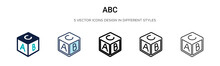 Abc Icon In Filled, Thin Line, Outline And Stroke Style. Vector Illustration Of Two Colored And Black Abc Vector Icons Designs Can Be Used For Mobile, Ui, Web