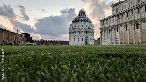Obraz na płótnie Piazza Dei Miracoli Against Sky During Sunset In City