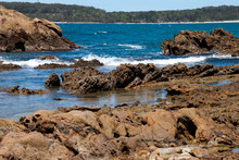Candlagan Creek Australia, Windsurfer On Bay With Forested Headland In Background