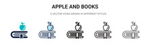 Apple And Books Icon In Filled...