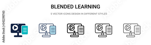 Obraz Blended learning icon in filled, thin line, outline and stroke style. Vector illustration of two colored and black blended learning vector icons designs can be used for mobile, ui, web - fototapety do salonu