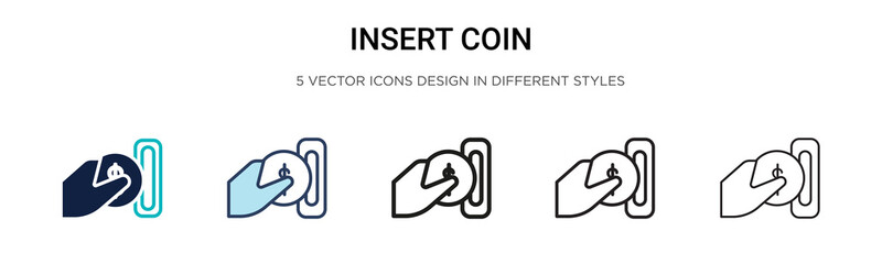 Insert coin icon in filled, thin line, outline and stroke style. Vector illustration of two colored and black insert coin vector icons designs can be used for mobile, ui, web