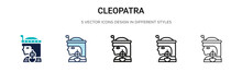 Cleopatra Icon In Filled, Thin Line, Outline And Stroke Style. Vector Illustration Of Two Colored And Black Cleopatra Vector Icons Designs Can Be Used For Mobile, Ui, Web