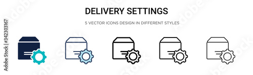 Fototapeta Delivery settings icon in filled, thin line, outline and stroke style. Vector illustration of two colored and black delivery settings vector icons designs can be used for mobile, ui, web obraz