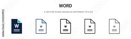 Photo Word icon in filled, thin line, outline and stroke style
