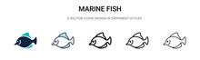 Marine Fish Icon In Filled, Th...
