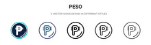 Peso Icon In Filled, Thin Line...