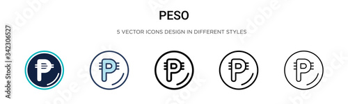 Peso icon in filled, thin line, outline and stroke style Canvas Print