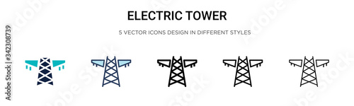 Fényképezés Electric tower icon in filled, thin line, outline and stroke style