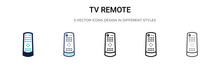 Tv Remote Icon In Filled, Thin...