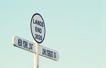 Signpost At Land`s End Cornwal...