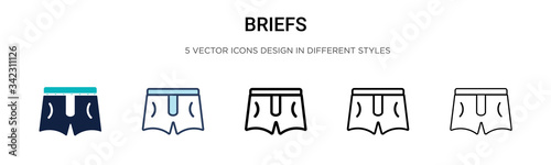Obraz Briefs icon in filled, thin line, outline and stroke style. Vector illustration of two colored and black briefs vector icons designs can be used for mobile, ui, web - fototapety do salonu