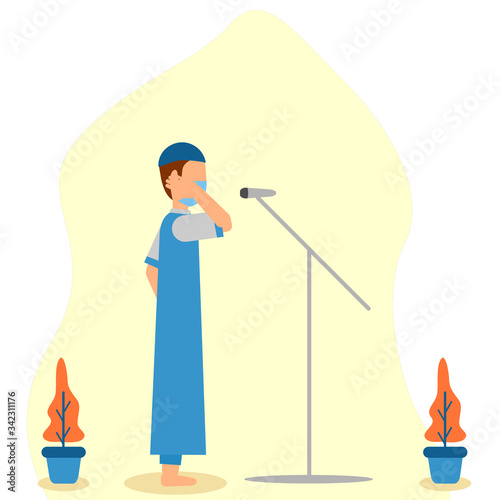 flat illustration vector graphic of man call to prayer during Ramadan wearing mask good for promotion welcomes Ramadan Tablou Canvas