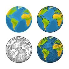 Earth Planet. Vector Color Vintage Engraving Illustration