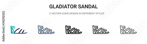 Obraz na plátně Gladiator sandal icon in filled, thin line, outline and stroke style