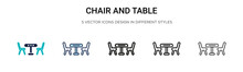 Chair And Table Icon In Filled...