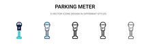Parking Meter Icon In Filled, Thin Line, Outline And Stroke Style. Vector Illustration Of Two Colored And Black Parking Meter Vector Icons Designs Can Be Used For Mobile, Ui, Web