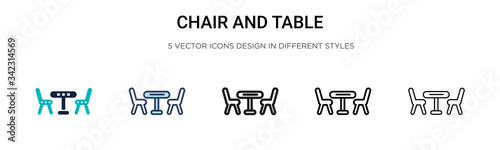Papel de parede Chair and table icon in filled, thin line, outline and stroke style