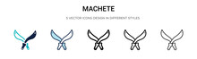 Machete Icon In Filled, Thin L...
