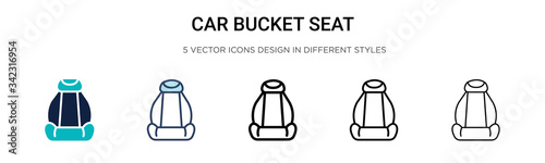 Obraz na plátně Car bucket seat icon in filled, thin line, outline and stroke style