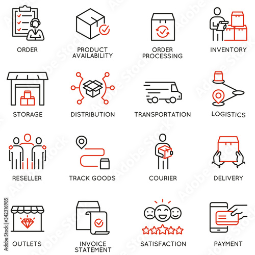 Photo Vector Set of Linear Icons Related to Tracking Order, Shipping and Experess Delivery Process