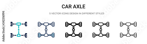 Car axle icon in filled, thin line, outline and stroke style Canvas Print