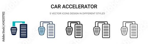 Car accelerator icon in filled, thin line, outline and stroke style Canvas Print