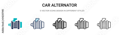 Car alternator icon in filled, thin line, outline and stroke style Wallpaper Mural