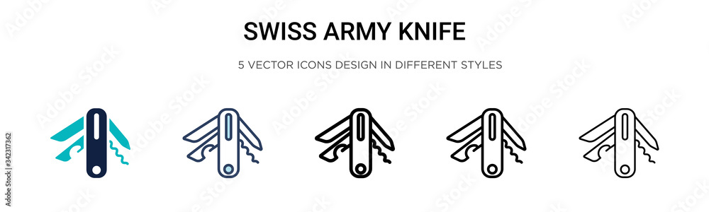 Fototapeta Swiss army knife icon in filled, thin line, outline and stroke style. Vector illustration of two colored and black swiss army knife vector icons designs can be used for mobile, ui, web