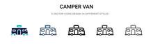 Camper Van Icon In Filled, Thi...