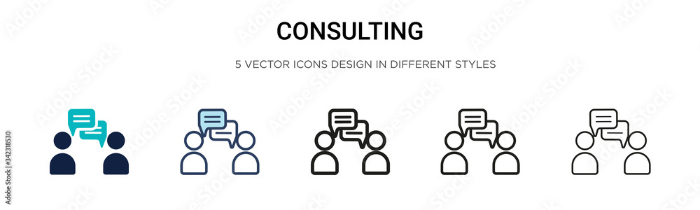 Fototapeta Consulting icon in filled, thin line, outline and stroke style. Vector illustration of two colored and black consulting vector icons designs can be used for mobile, ui, web