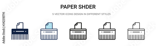 Paper shredder icon in filled, thin line, outline and stroke style Canvas Print