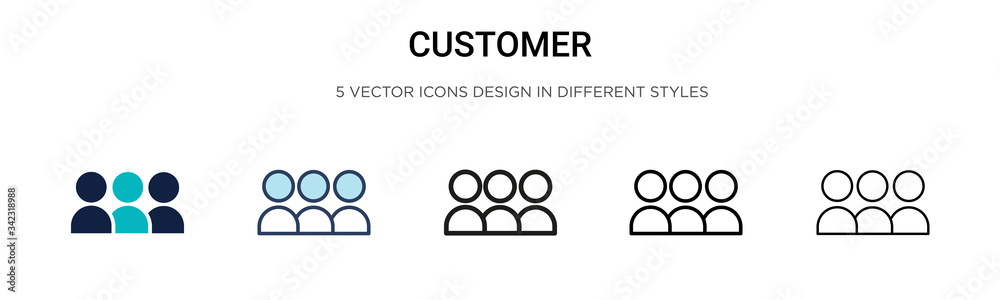 Fototapeta Customer icon in filled, thin line, outline and stroke style. Vector illustration of two colored and black customer vector icons designs can be used for mobile, ui, web